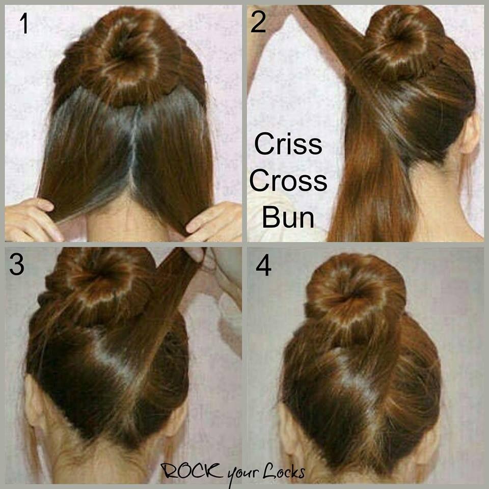 Criss cross bun hair style pinterest hair style hair buns and