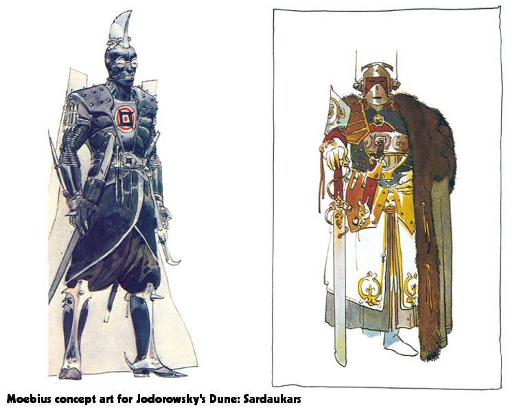 Moebius Concept Art for Jodorowsky's 'Dune' Characters