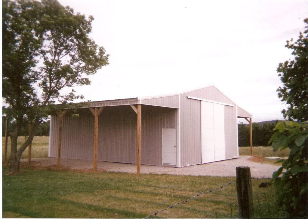 Pole barn attached overhang carport boat camper pole for Pole barn workshop