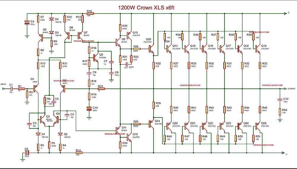 Amplifier Circuit Diagram | 1200w Power Amplifier Crown Xls 1200 1500w Crown Amplifier
