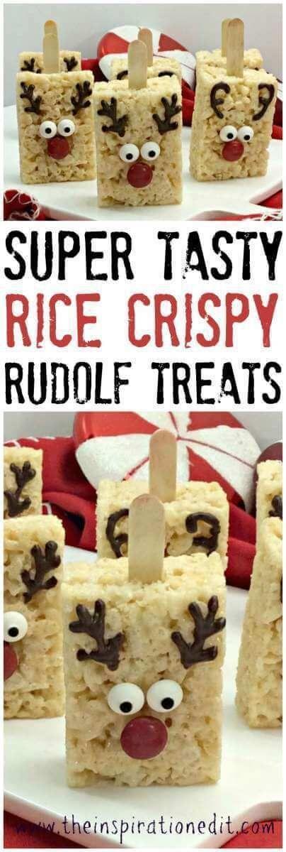 Rudolph Reindeer Rice Crispy Treats #crispytreats