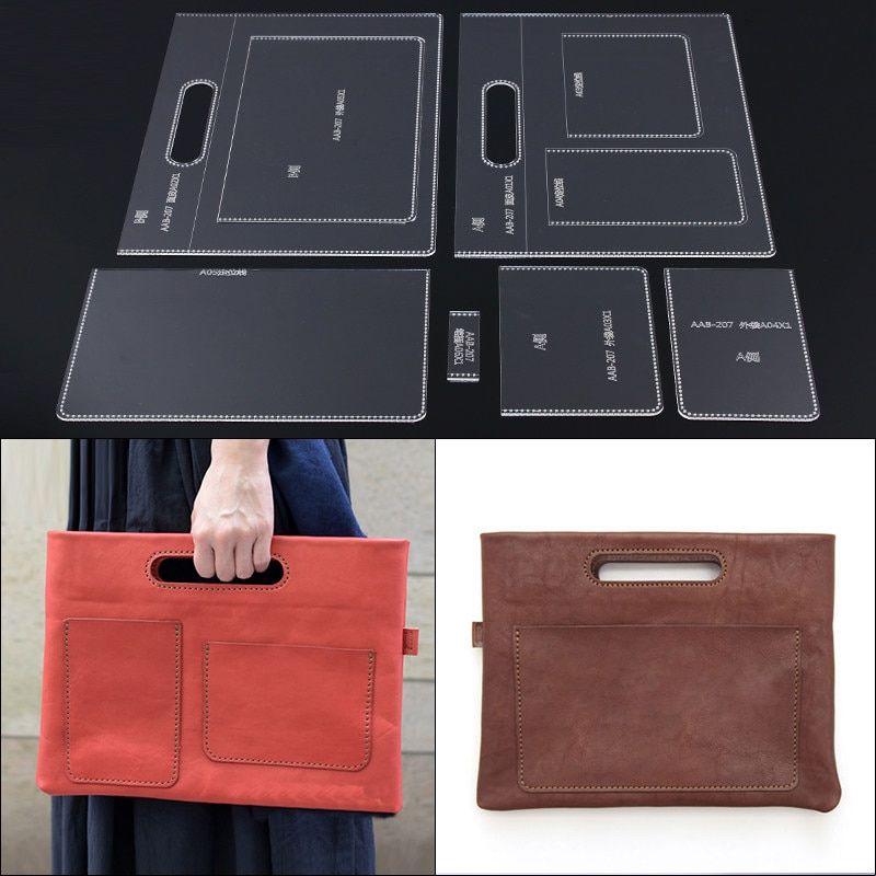 Taşınabilir belge paketi akrilik akrilik sürüm DIY deri el yapımı deri çanta banliyö çanta şablon 34X26X1 CM