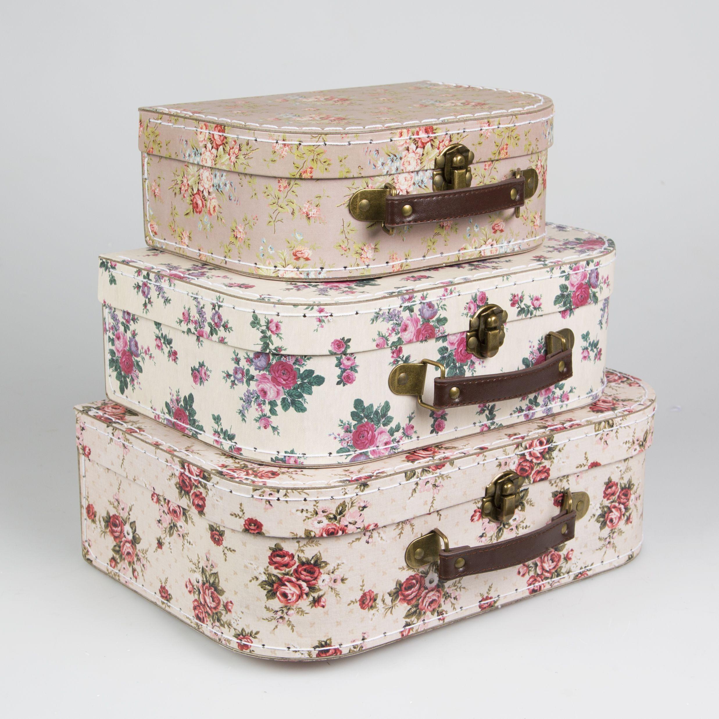 Decorative Luggage Box Vintage Rose Suitcases  Set Of 3  Decorative Suitcases & Storage