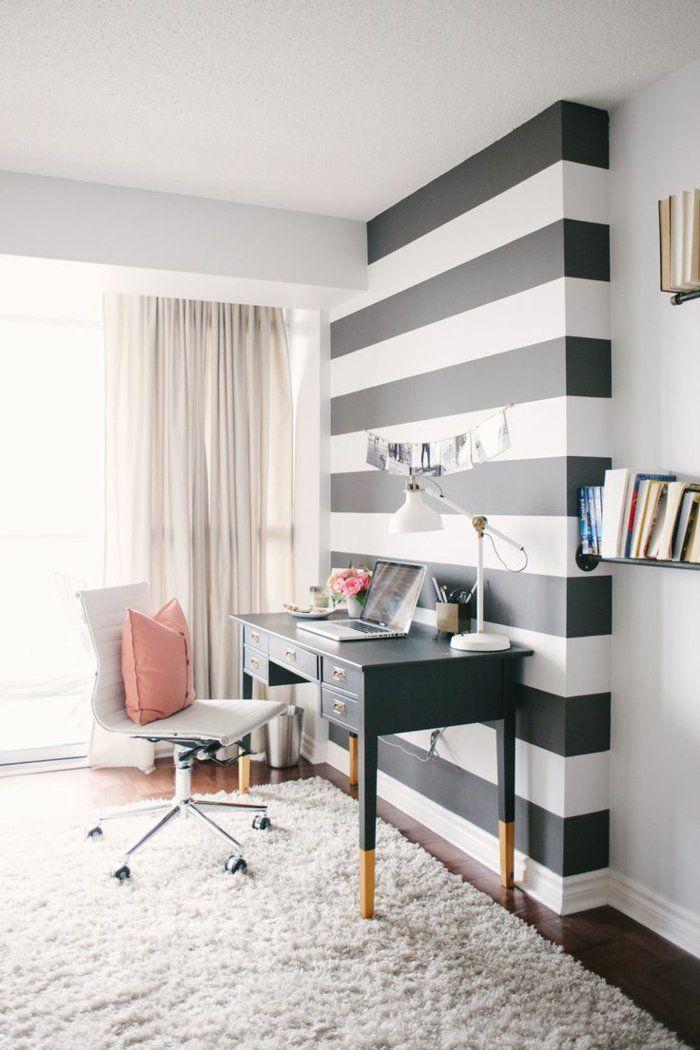 joli cin de travail domicile avec papiers peints leroy merlin noir et blanc pour les murs