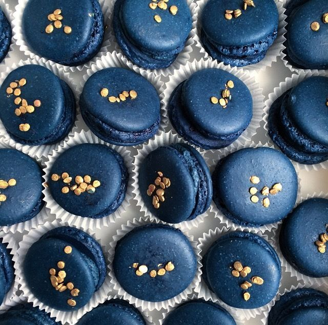 Navy Blue Macarons With Gold Accents Macaron Photography