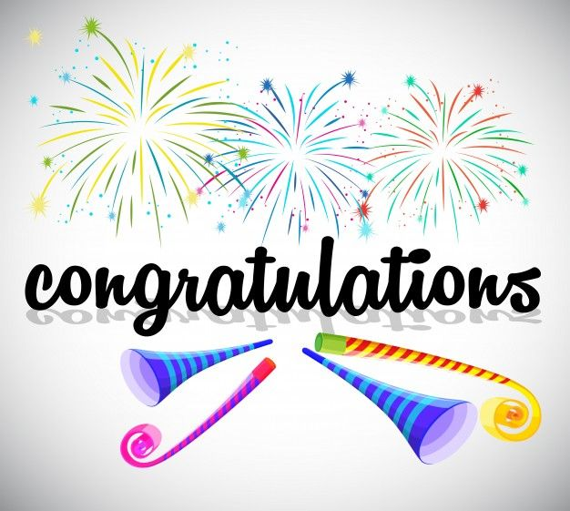 Download Card Template With Fireworks And Party Horns For Free Congratulations Banner Congratulations Card Happy Birthday Greetings Friends