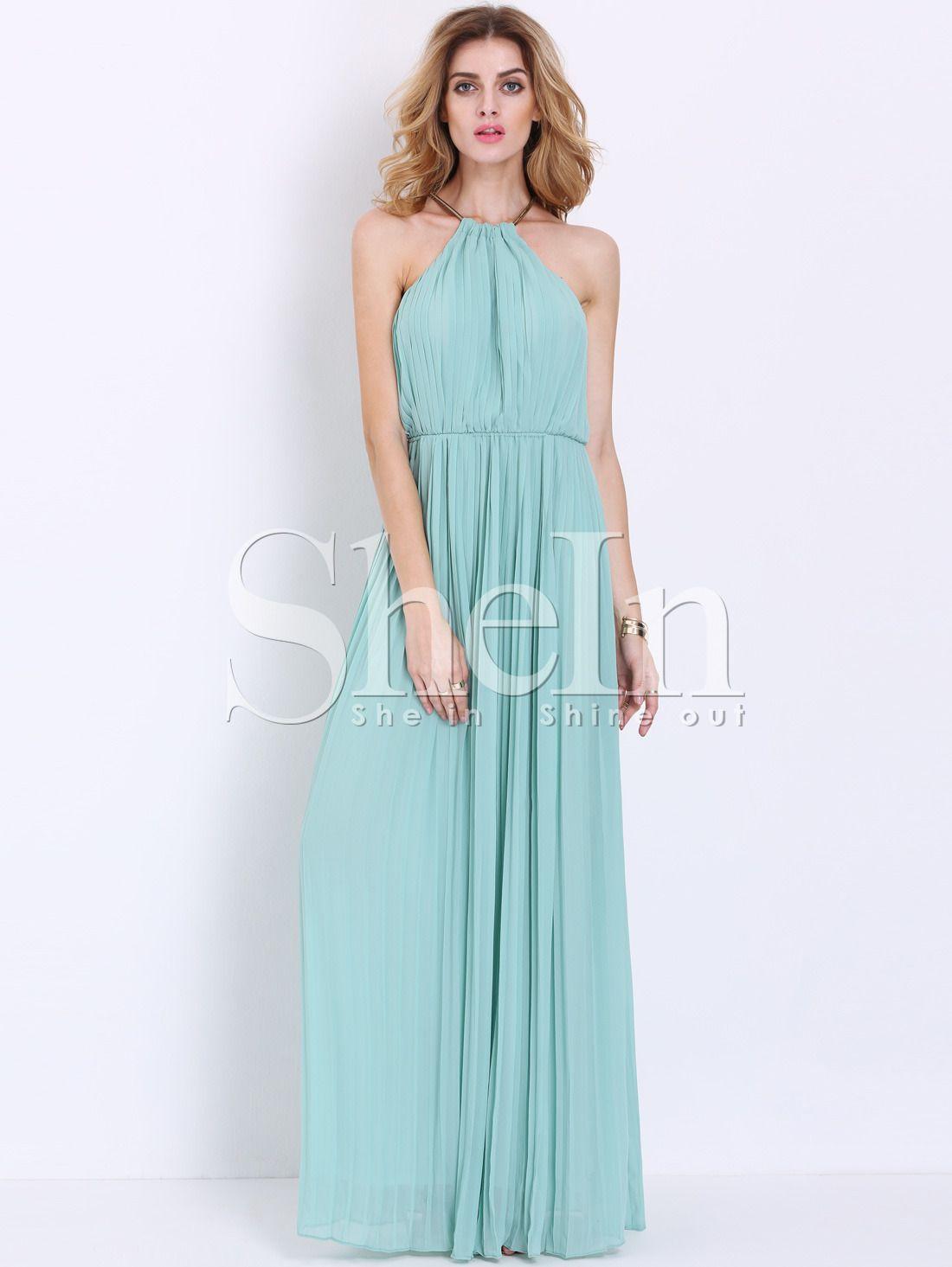 Shop Mint Sleeveless Halter Pleated Elegent Maxi Dress online. SheIn offers  Mint Sleeveless Halter Pleated Elegent Maxi Dress   more to fit your  fashionable ... 372b3c8afff8
