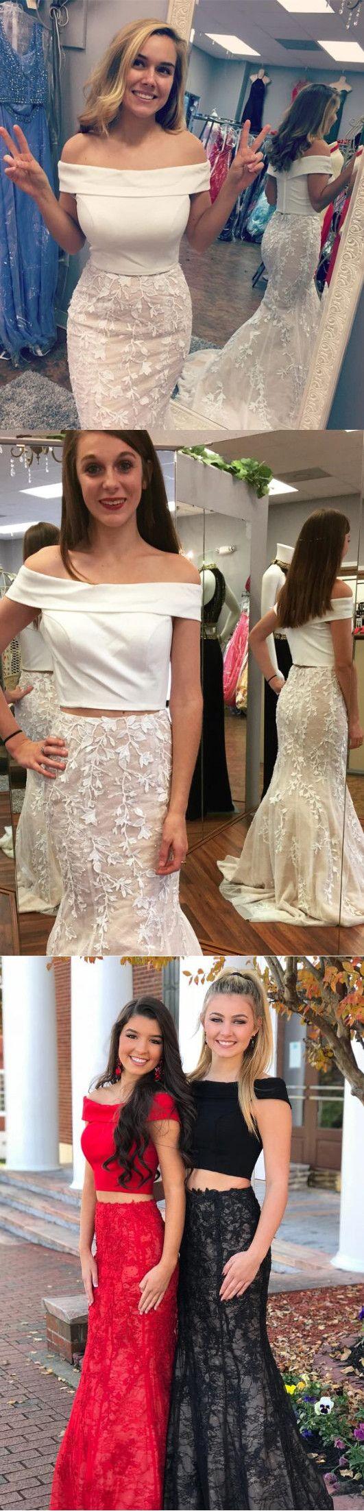 Sexy two piece prom dress mermaid whiteredblack lace prom dress