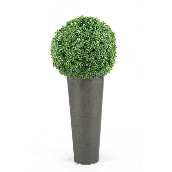 D&W Silks Boxwood Ball in Round Planter ($175) ❤ liked on Polyvore featuring home, home decor, floral decor, green, round planter, silk topiary, boxwood ball topiary, green home decor and green planters