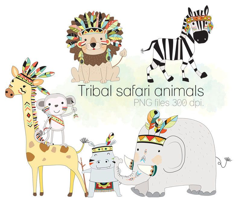 Safari animals clipart, Tribal animals , Woodland Clipart, Instant ...