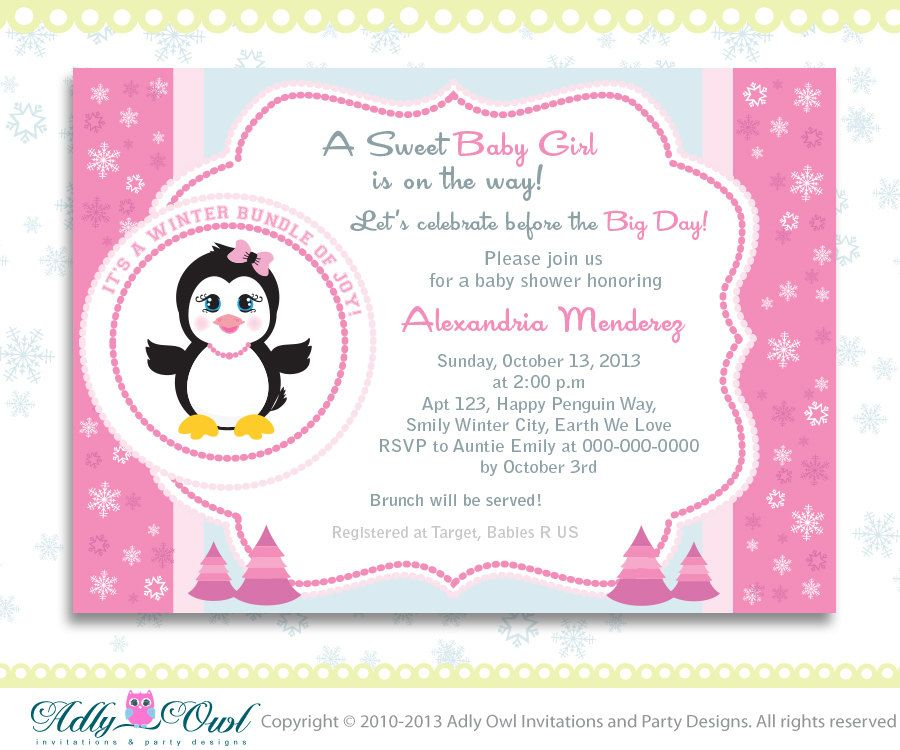 Pink Snowflake Penguin Girl Baby Shower invitation Printable DIY ...
