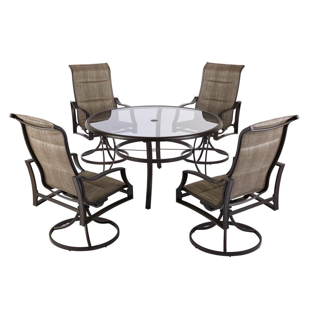 Hampton bay statesville pewter piece aluminum outdoor dining set