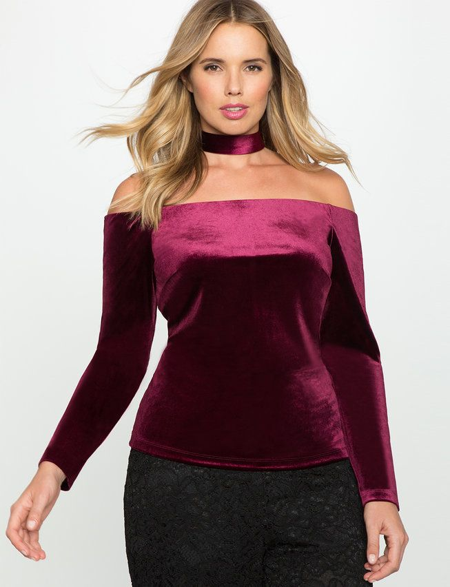 Plus Size Velvet Off the Shoulder Floating Collar Top | Plus Size ...
