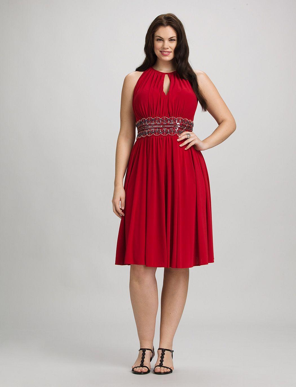 Plus Size Dresses Plus Size Scallop Bead Halter Dress