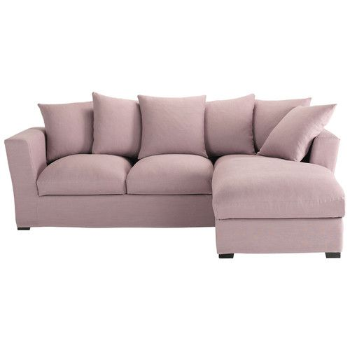5 Seater Linen Corner Sofa Bed In Mauve