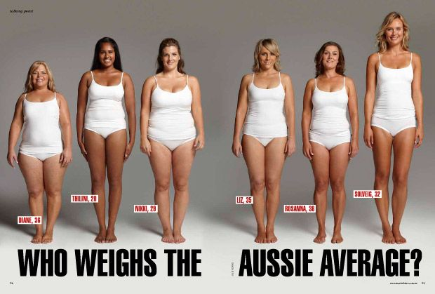 marie clair piece on the australian average all of these women weigh 70 kg 154 lbs body. Black Bedroom Furniture Sets. Home Design Ideas