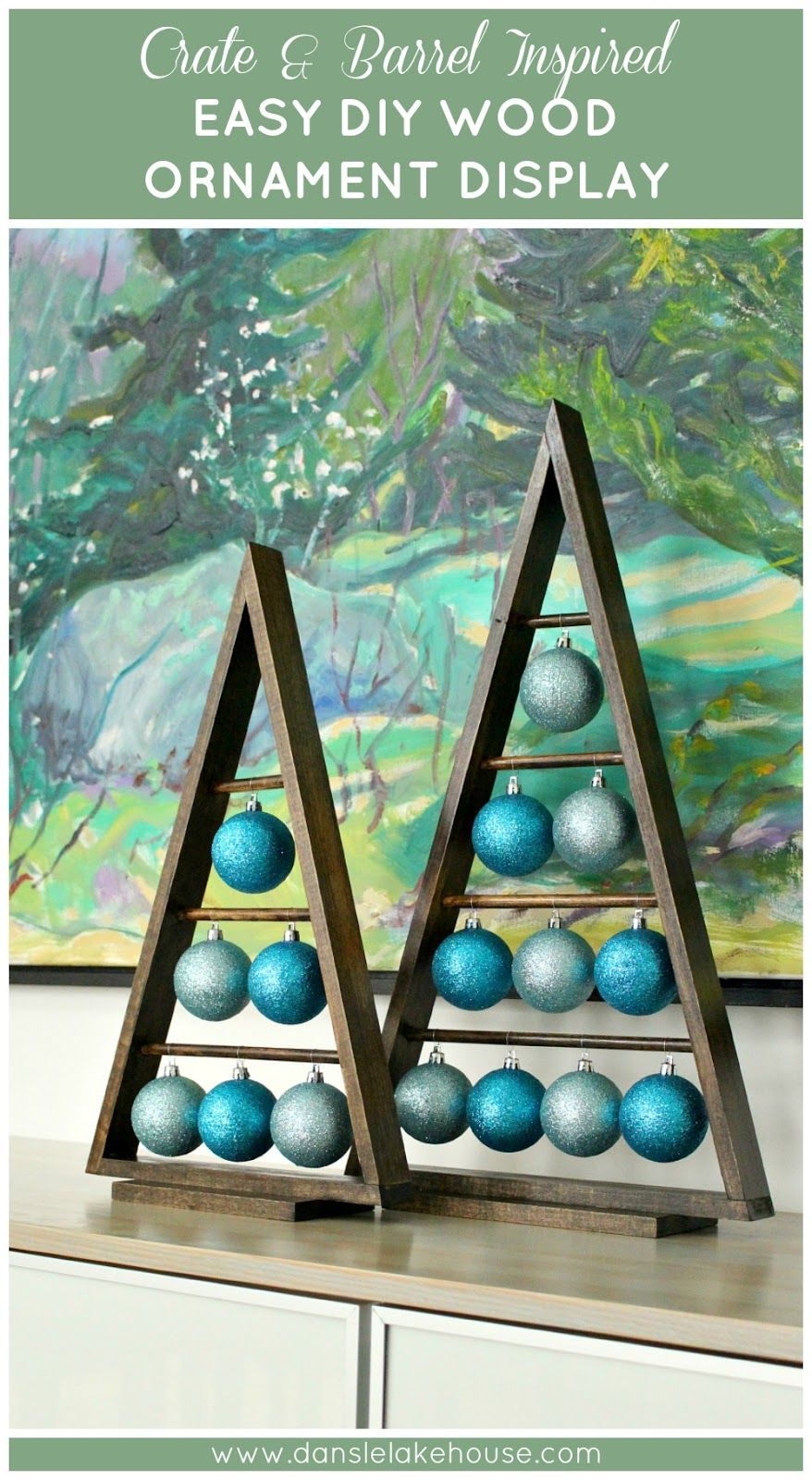 Crate & Barrel Ornament Stand Knock Off // Easy DIY A-frame Wood Ornament Display // Alternatives to traditional Christmas tree // Rustic modern holiday decor ideas // DIY Christmas decor // Handmade gift ideas for the holidays