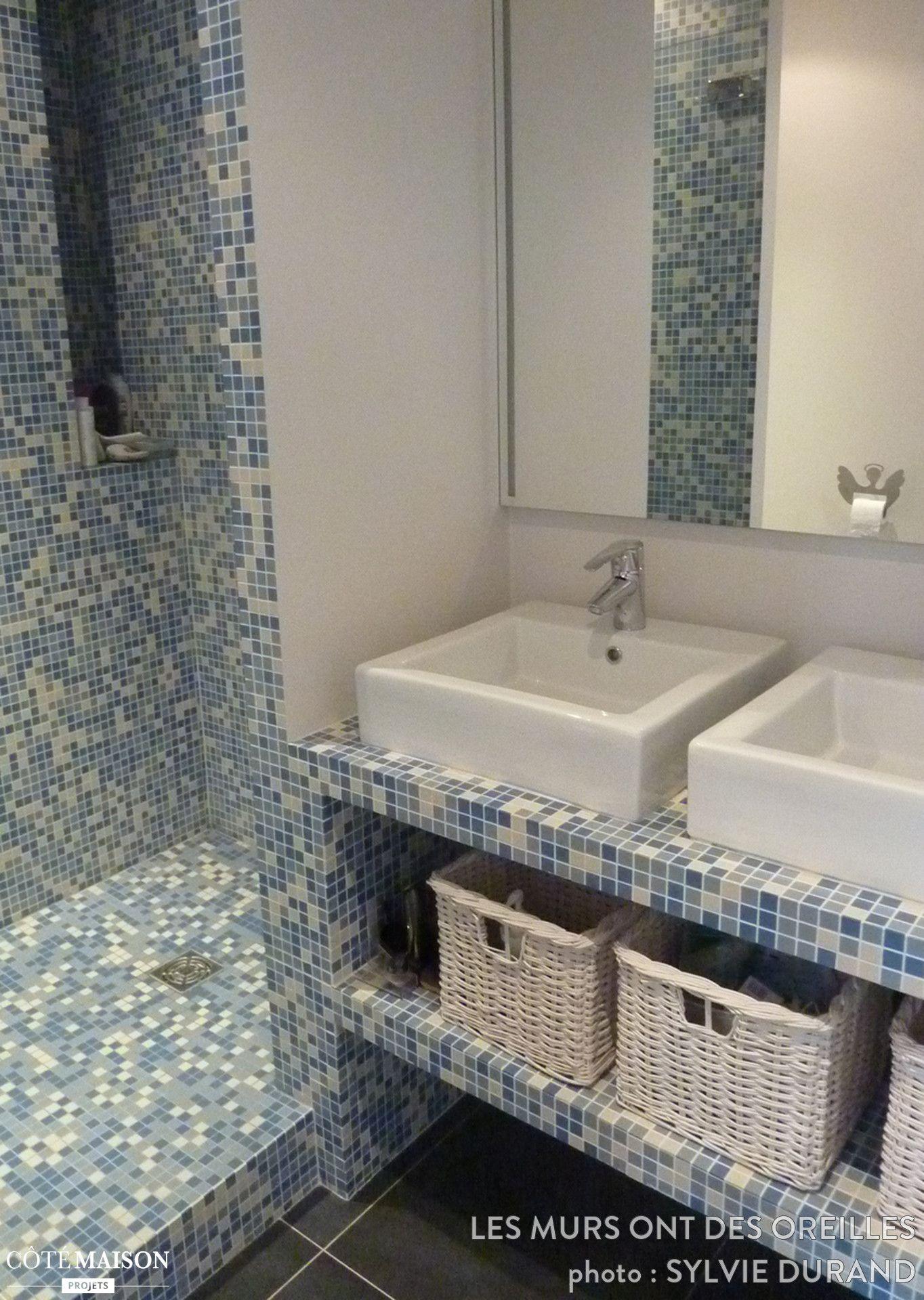 Mosaique Salle De Bain Bleu ~ salle de bains avec carrelage en mosa ques bleu et blanc douche