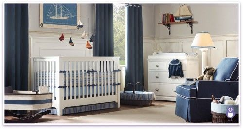 Wainscoting With Pale Blue For Sailboat Nursery