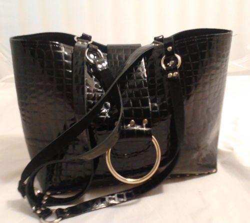 D.L.Rhein Black Leather Business Tote, Shoulder Bag, Croc Embossed