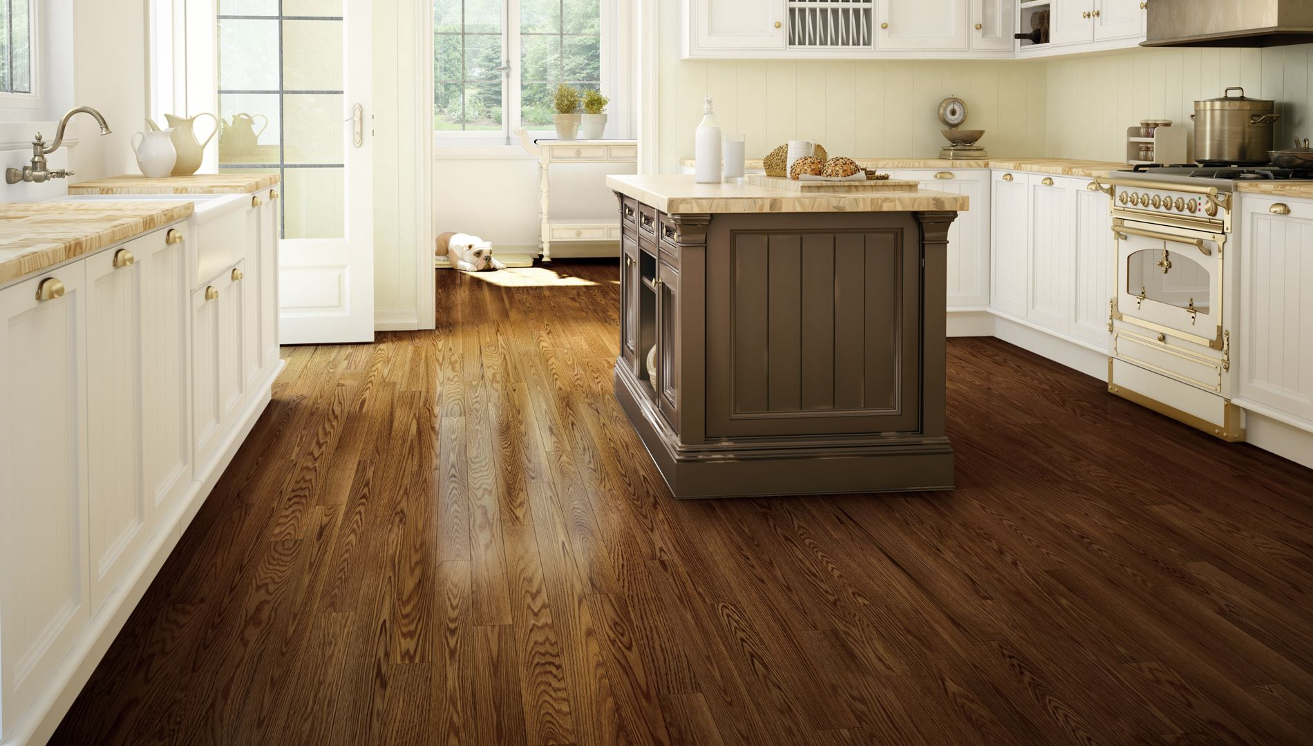 Cigarillo designer red oak antique lauzon hardwood for Wood flooring kitchen ideas