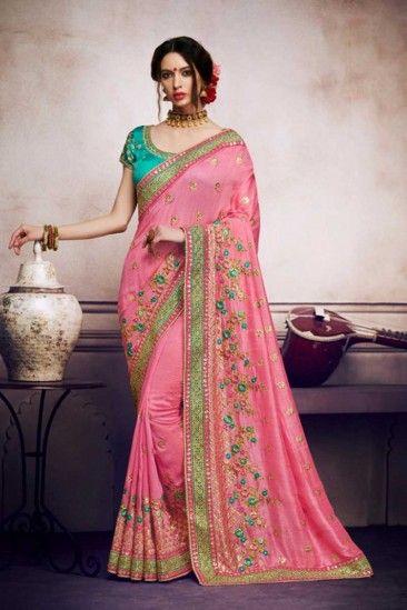 43ae6e8e47 #Wedding #Sarees - Pink Satin and Silk Saree With Dupion Blouse - DMV15896