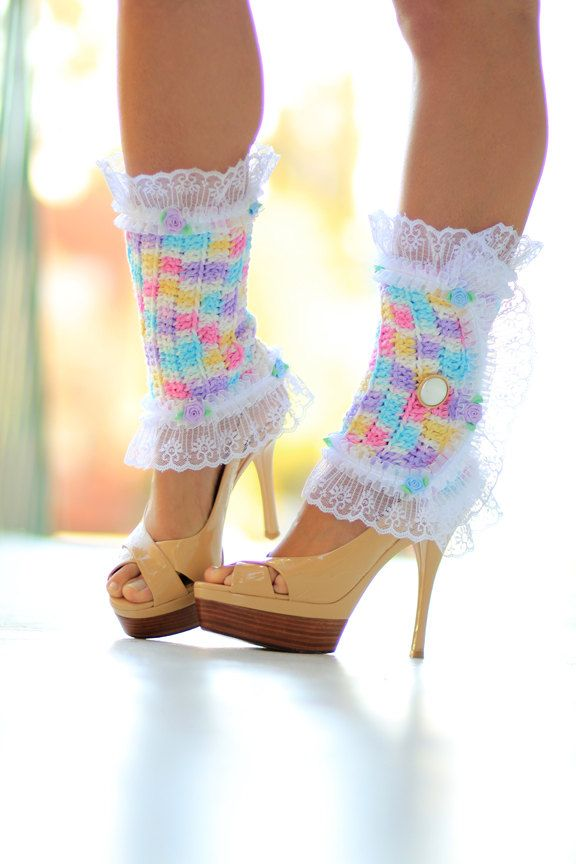 Victorian Style Leg Warmers - Colorful Lace Spats in Cupcake Colors ...