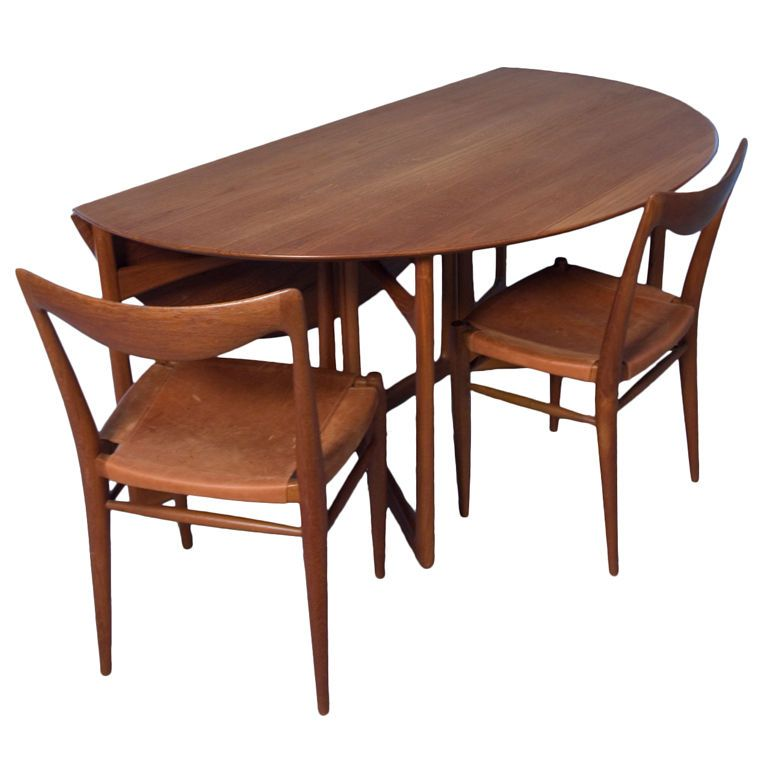 Teak Folding Dining Table And Four Chairs By Peter Hvidt Dining