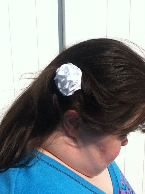White Hair Clip by 3colon7 on Etsy, $7.00