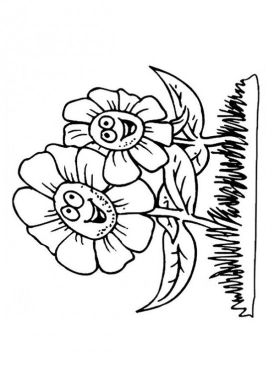 The Happy Flowers Of Spring Flower Coloring Pages 550x778 Picture