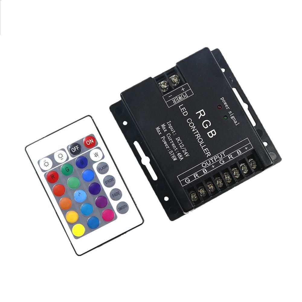48a 576w Rgb Led Controller Dc12 24v With 24k Ir Wireless Remote Extension Wire Connector Cable Cord For 3528 5050 Strip Ebay Control