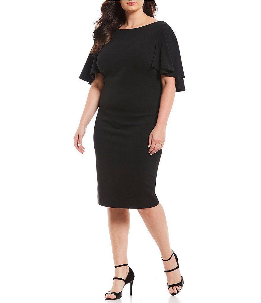 cdecdade253 Calvin Klein Plus Size Flutter Cape Sheath Dress