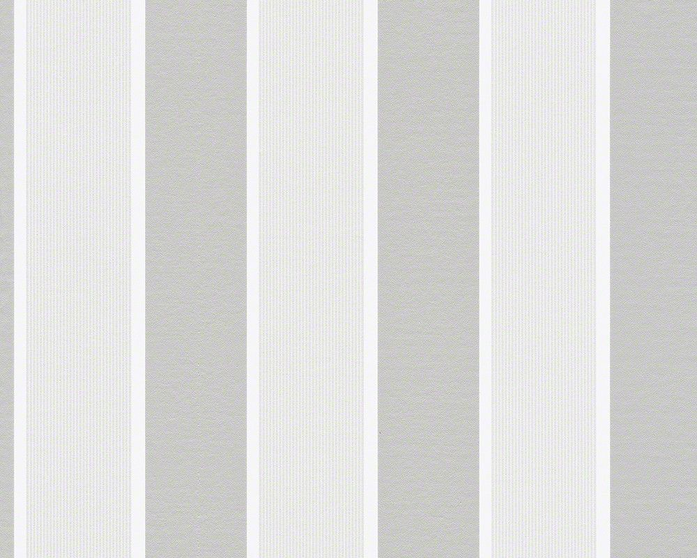 Wide Stripes Wallpaper in White and Grey design by BD Wall