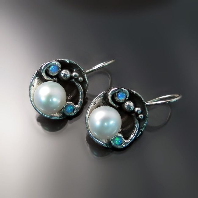 Mother's Day gifts she's sure to love: unique pearl and opal earrings in sterling silver.
