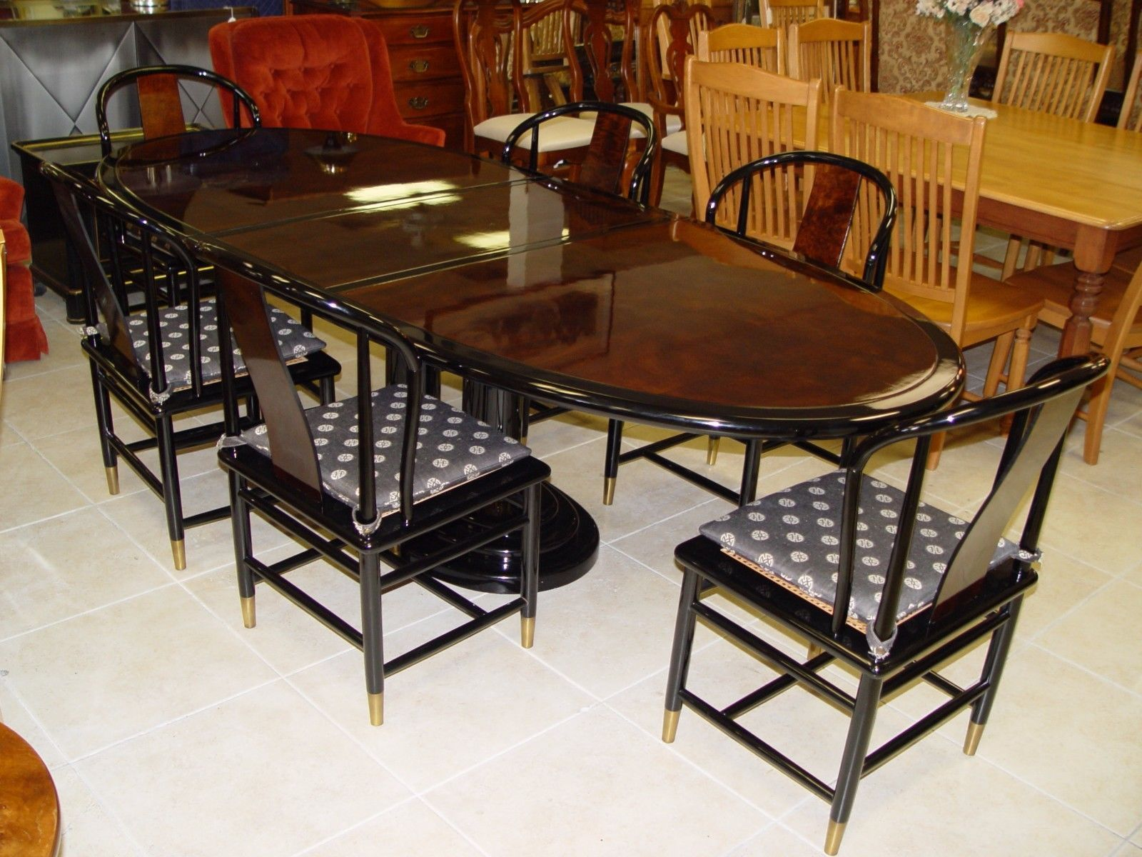 Henredon Mertyl And Ebony Brown Black Lacquer Table W 6 Chairs 1 Leaf Pads Dining Room Furniture Table Furniture