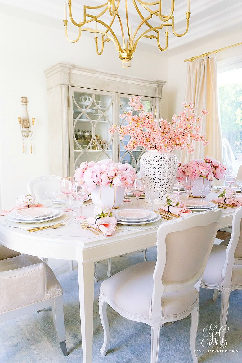 Pretty Dining Room Pink Tablescape Pink Dining Rooms Dining Room Decor Room Decor