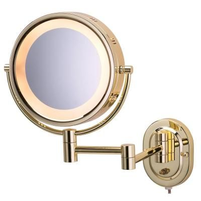 Jerdon 2 Sided Wall Mounted Lighted Mirror In Brass Hl65g At The Home Depot Lighted Wall Mirror Wall Mounted Makeup Mirror Wall Mounted Mirror