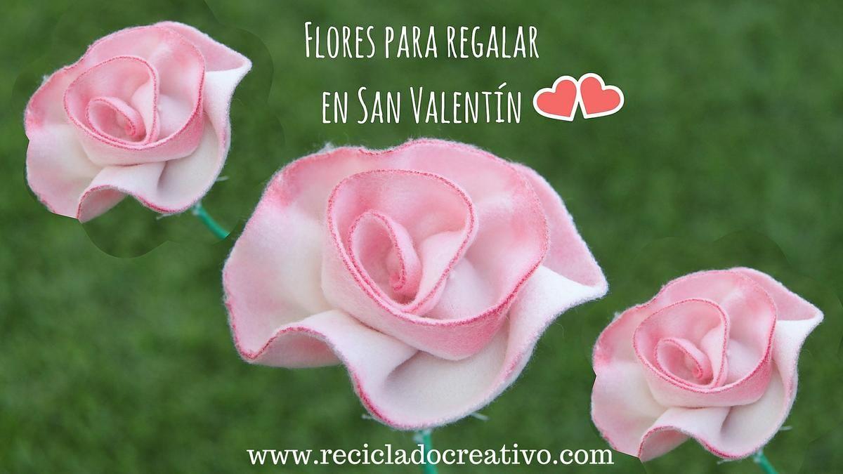 Flores rosas para regalar en San Valentín hechas con retales ...
