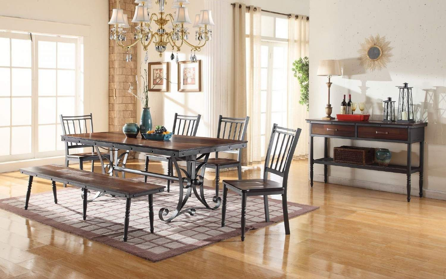 Rustic 6 Piece Dining Table Ffo Home Festive Dining Metal