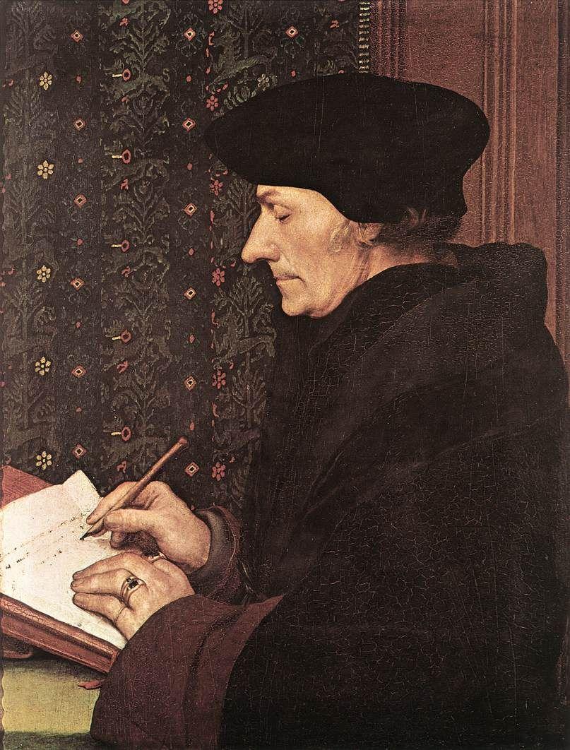 """""""Portrait of Erasmus of Rotterdam"""", 1523 by Hans Holbein the Younger (1497-1543). Paper mounted on pine, 36,8 x 30,5 cm Kunstmuseum, Öffentliche Kunstsammlung, Basel Erasmo, nascido em 1469, entrou no monastério de Steyn, e foi ordenado em 1492. Em 1517, o papa Leão X concedeu-lhe o privilégio de não-obrigatoriedade de usar indumentárias monásticas, o que justifica o uso de roupas universitárias no quadro."""