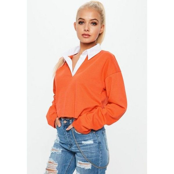 ddabd3e09efa6 Missguided Cropped Rugby Shirt Top ( 34) ❤ liked on Polyvore featuring tops