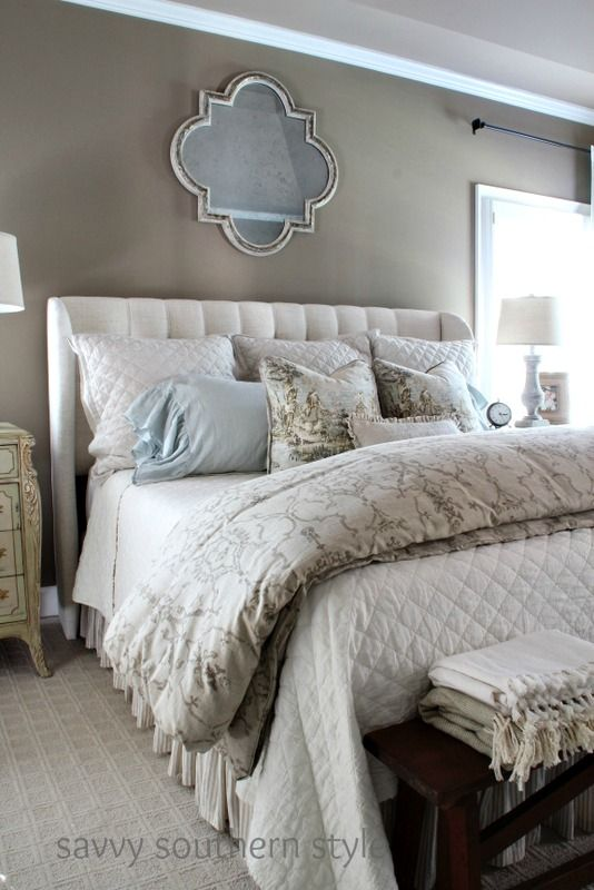 Neutral cozy master i am bhome pinterest cozy for Southern style bedroom