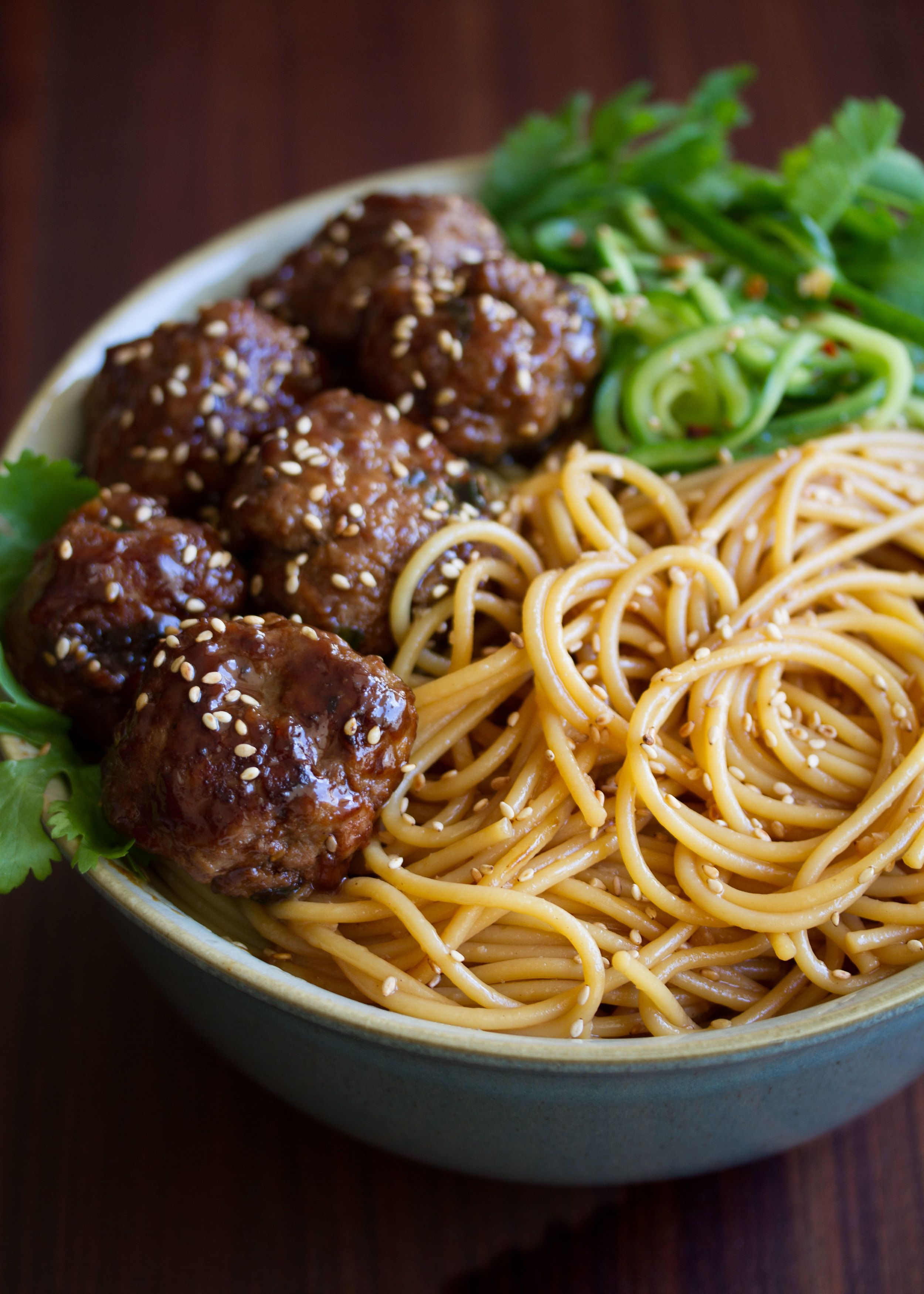 Asian meatballs over sesame noodles agree, this