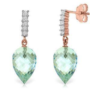 14K Solid Rose Gold Diamond Pointy Blue Topaz Earrings - 4806-R
