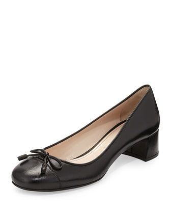 2d9eeec0670 Cap-Toe Block-Heel Bow Pump