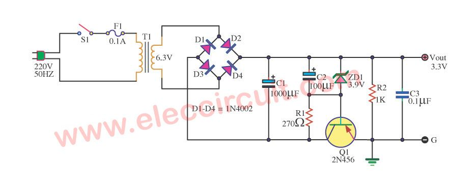 Simple 3 3v Power Supply Circuit 1a For Digital Eleccircuit Com Power Supply Circuit Power Supply Power
