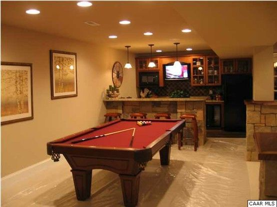 No one has to be trained to read them. wet bar game room | Game room, Game room basement, Bar games