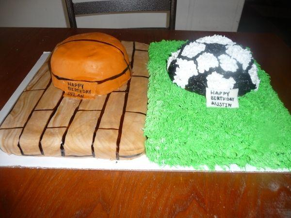 Basketball Andsoccer Birthday Cake Children S Birthday Cakes Soccer Birthday Cakes Childrens Birthday Cakes Cake
