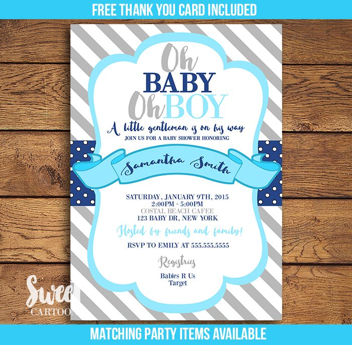 Oh baby oh boy baby shower invitation in blue, navy blue and grey ...