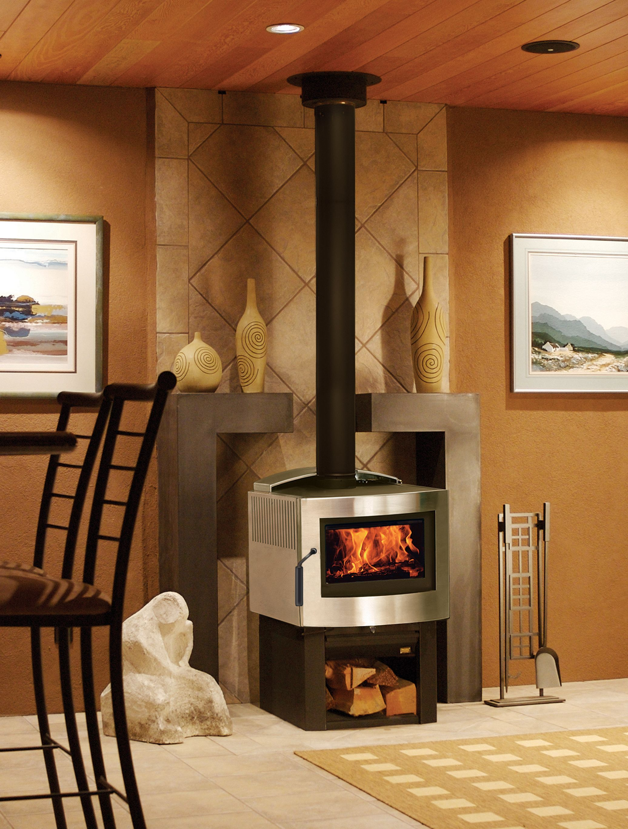 Pacific Energy Fusion Woodstove In Stainless Steel Finish Wood Heat Wood Burner Wood Fireplace